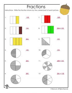 Fractions Recognition Worksheet - ANSWERS