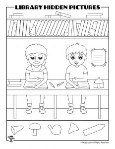Printable Library Activities Coloring Pages Word Puzzles