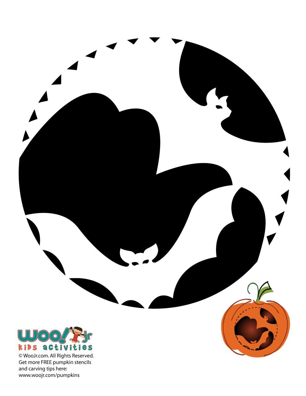 flying bats and a moon pumpkin template woo jr kids activities