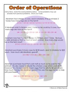 Order of Operations Common Core Worksheet - ANSWERS