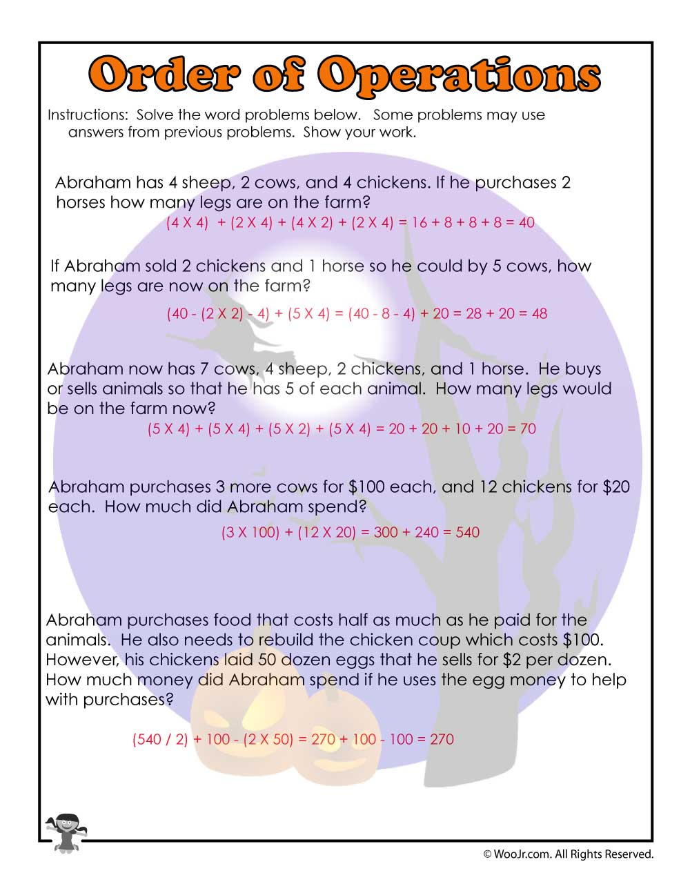 Order Of Operations Common Core Worksheet Answers Woo Jr Kids