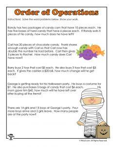 3rd Grade Halloween Math Worksheet Operations