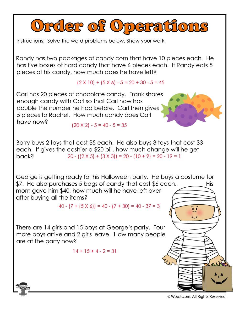 3rd Grade Halloween Math Worksheet Operations - ANSWERS | Woo! Jr ...