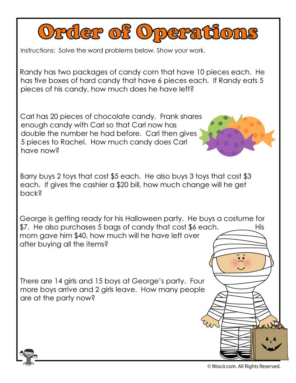 3rd Grade Halloween Math Worksheet Operations Woo Jr Kids Activities