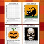 Halloween Mystery Pictures Grid Coloring Pages