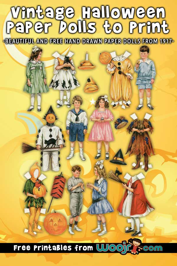 Vintage Halloween Paper Dolls to Print