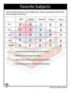 Bright image in printable logic puzzles for kids