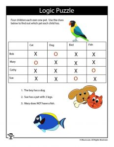 Animals Easy Logic Puzzle for Kids - ANSWERS