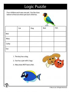photo about Printable Puzzles for Kids named Printable Logic Puzzles for Children Woo! Jr. Young children Actions