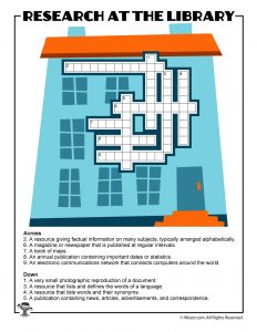 Library Research Sources Crossword Puzzle