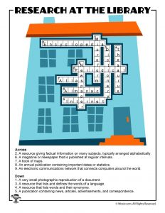 Library Research Sources Crossword Puzzle ANSWER KEY