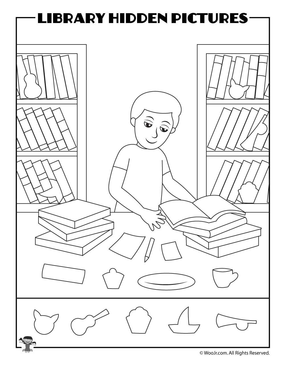 Library Desk Hidden Picture Printable Woo Jr Kids Activities