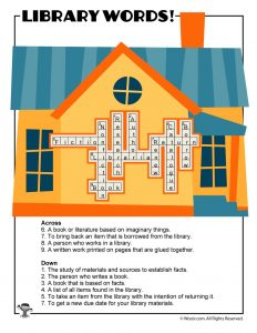 Library Vocabulary Words Crossword Puzzle ANSWER KEY
