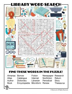 Library Word Search ANSWER KEY