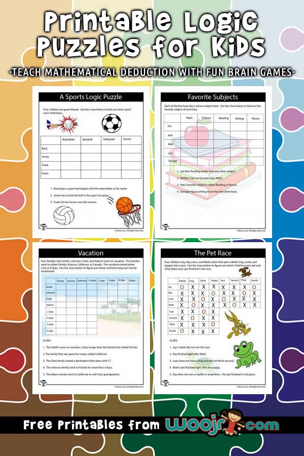 Divine image regarding printable logic puzzles for kids