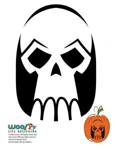 pumpkin template skull  Skulls and Skeleton Pumpkin Templates to Carve | Woo! Jr ...