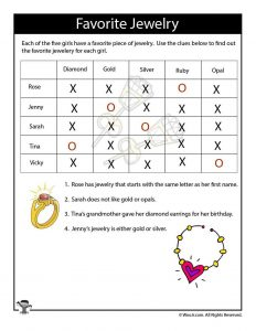 Jewelry Medium Difficulty Logic Puzzle - ANSWERS