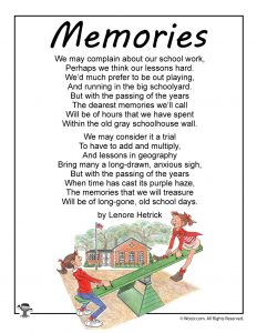 Memories School Poem for Kids