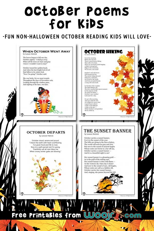 Printable October Kids Poems