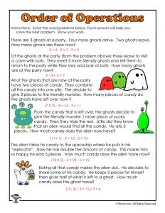 Halloween Math Monsters 3rd Grade - ANSWERS
