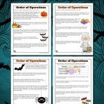 Order of Operations Worksheets for Halloween