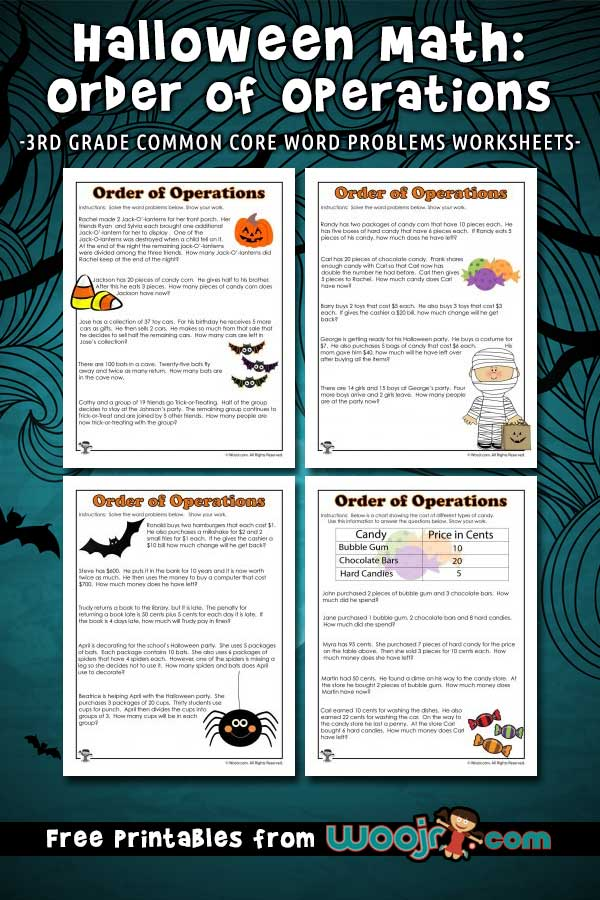 3rd Grade Halloween Order of Operations Worksheets