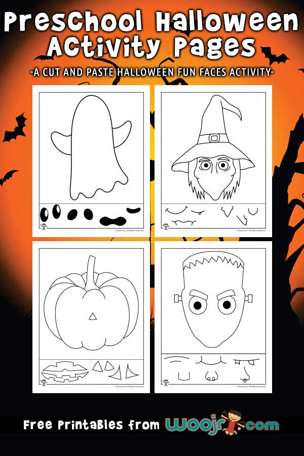 Preschool Halloween Activity Pages - Cut and Paste Fun Faces