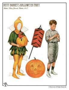Pumpkin and Halloween Costume Vintage Paper Doll