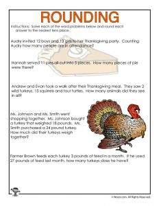 Thanksgiving Rounding Numbers Worksheet