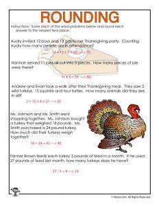 Thanksgiving Rounding Numbers Worksheet - ANSWERS