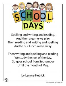 School Days Printable Poem for Students