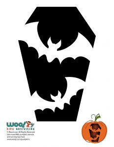 Simple Bats in a Coffin Pumpkin Design