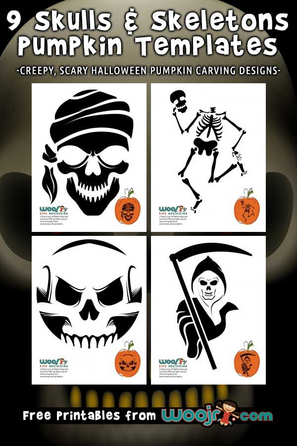 9 Skulls & Skeleton Pumpkin Templates