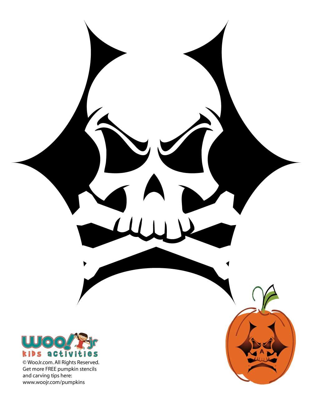 Skull Crossbones Pumpkin Carving Pattern Woo Jr Kids Activities