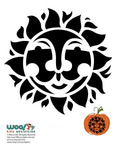 Smiling Sun Pumpkin Carving Pattern