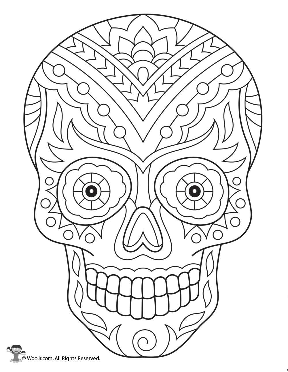 Sugar Skull Skeleton Adult Coloring Page | Woo! Jr. Kids ...