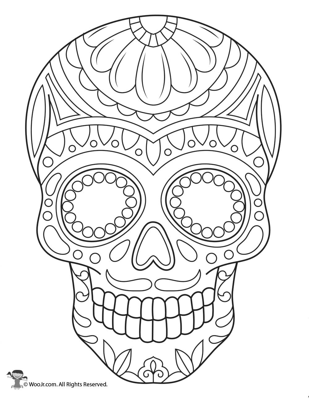 Sugar Skull Coloring Page Woo Jr Kids Activities