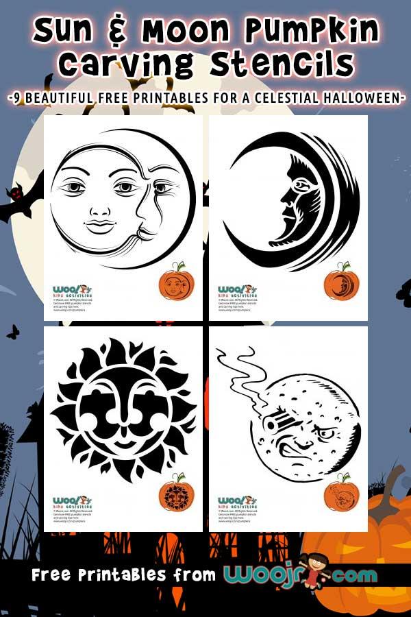 Sun & Moon Pumpkin Carving Stencils
