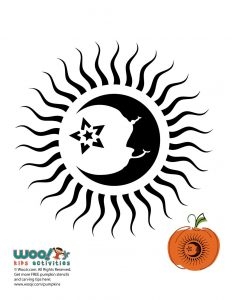 Moon and Sun Rays Pumpkin Stencil