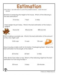 Thanksgiving Estimation Multiple Choice Worksheet