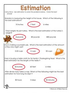 Thanksgiving Estimation Multiple Choice Worksheet - ANSWERS