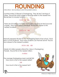 Tens and Hundreds Rounding Word Problems Worksheet - ANSWERS