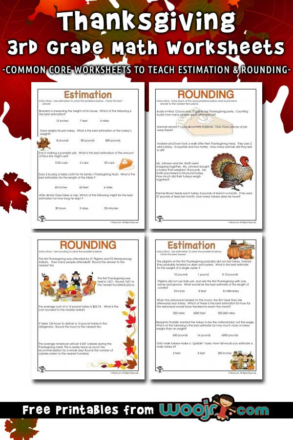 Thanksgiving Math Word Problems - Estimating and Rounding