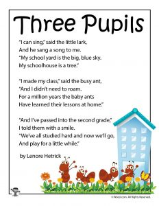 Three Pupils School Poetry for Kids