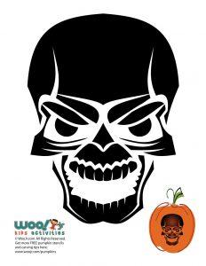Evil Skull Pumpkin Carving Pattern