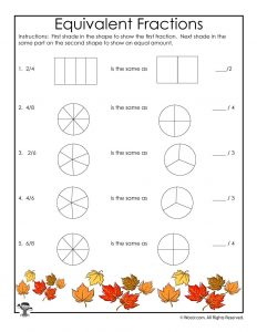 Fall Equivalent Fractions Worksheet