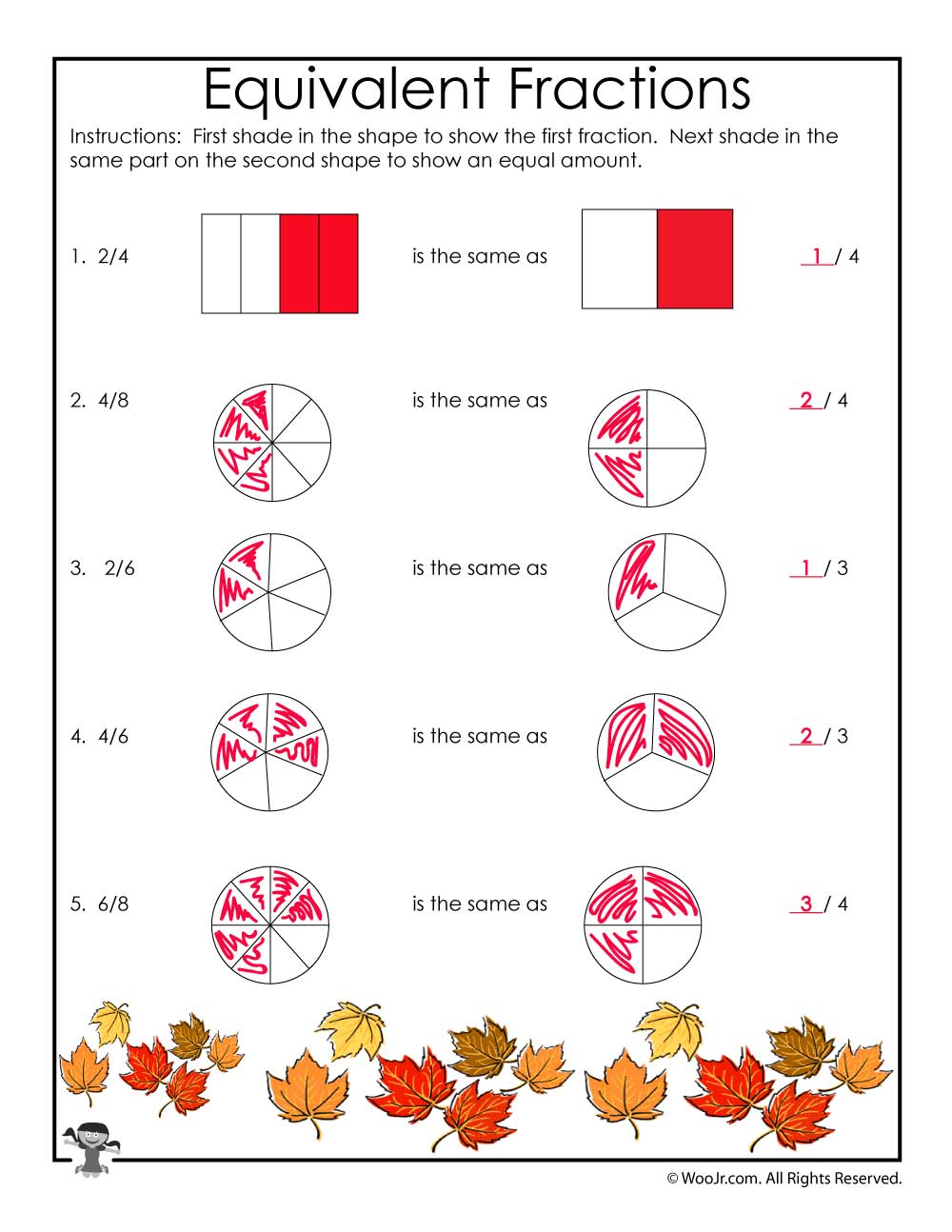 fall equivalent fractions worksheet - answers | woo! jr. kids activities