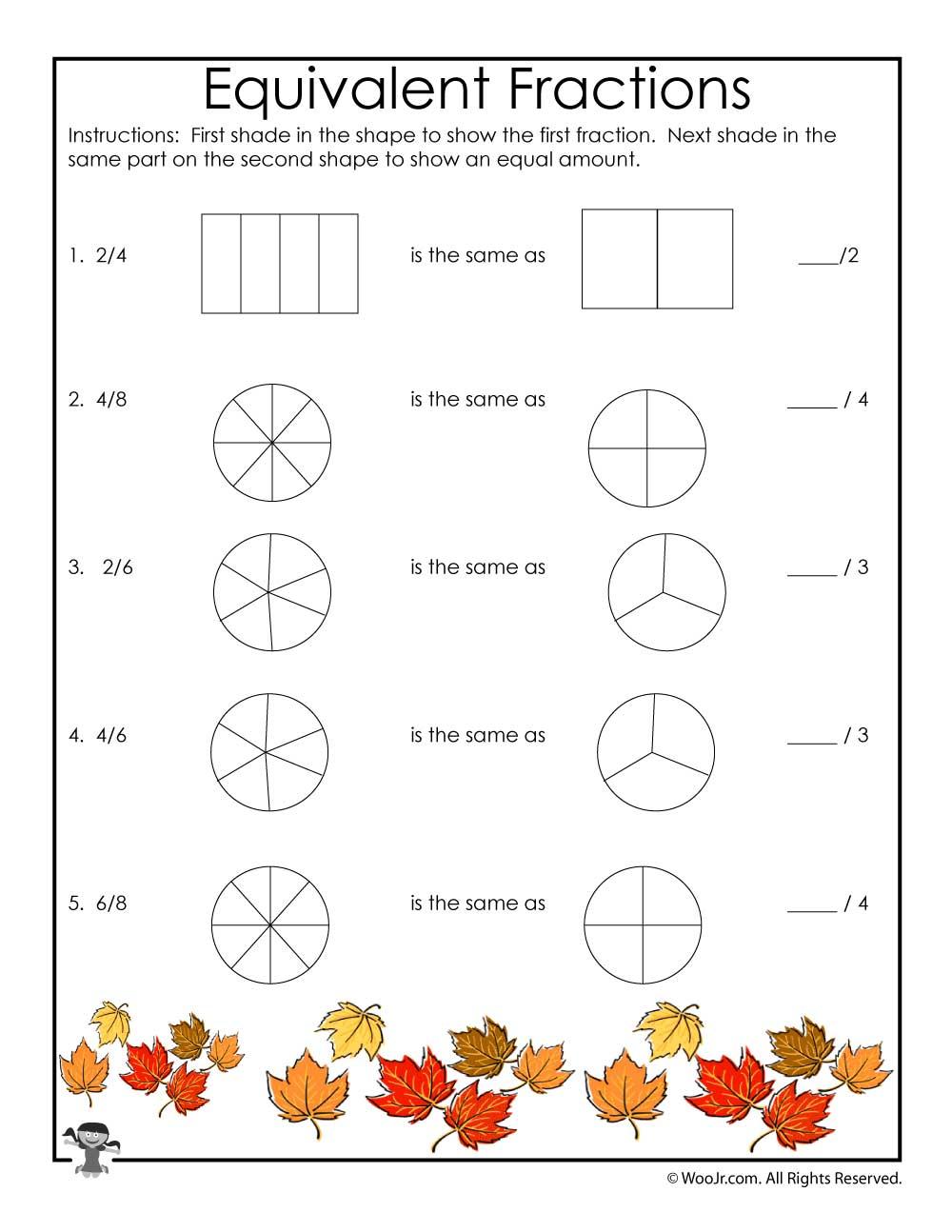 fall equivalent fractions worksheet woo jr kids activities. Black Bedroom Furniture Sets. Home Design Ideas