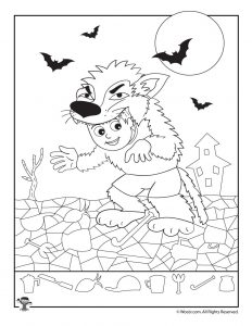 Werewolf Costume Hidden Pictures Worksheet