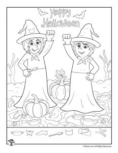 Witches Happy Halloween Hidden Items Worksheet